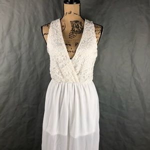 White Lace Top & Sheer Pant Leg One Piece Jumper